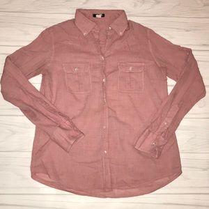 J crew button down women's 6 pink long sleeve top
